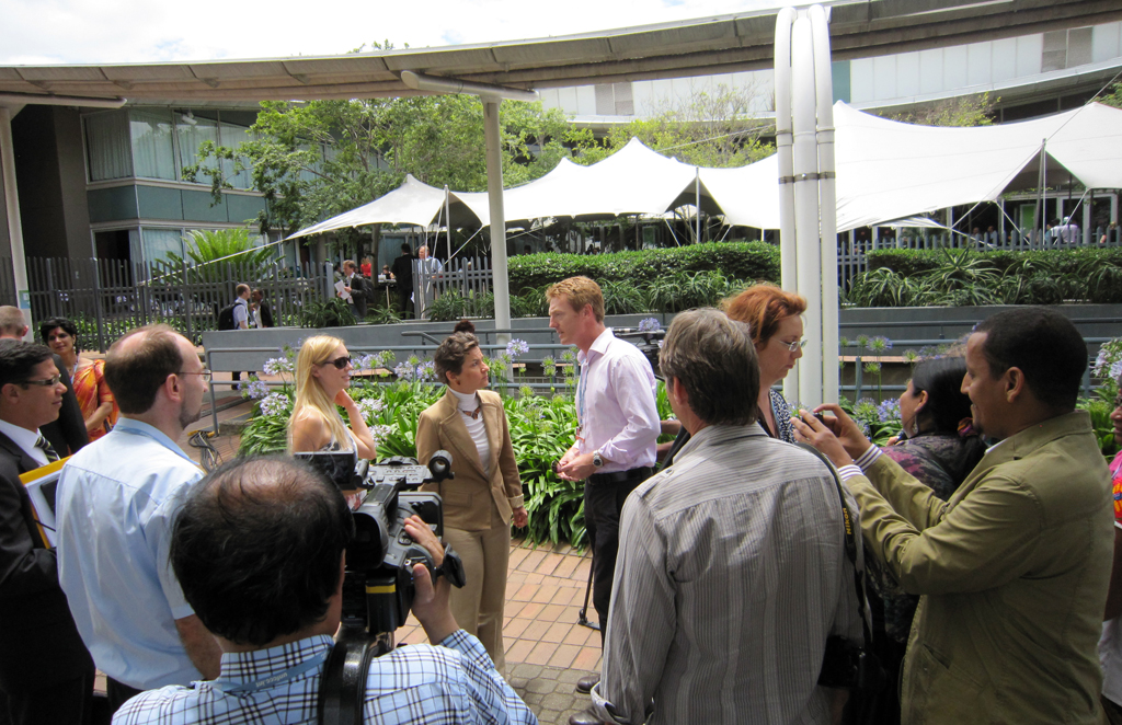 COP17: Media Scrum with Christiana Figueres